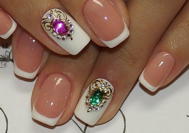 Фото дизайн ногтей гель лаком с жидкими камнями
