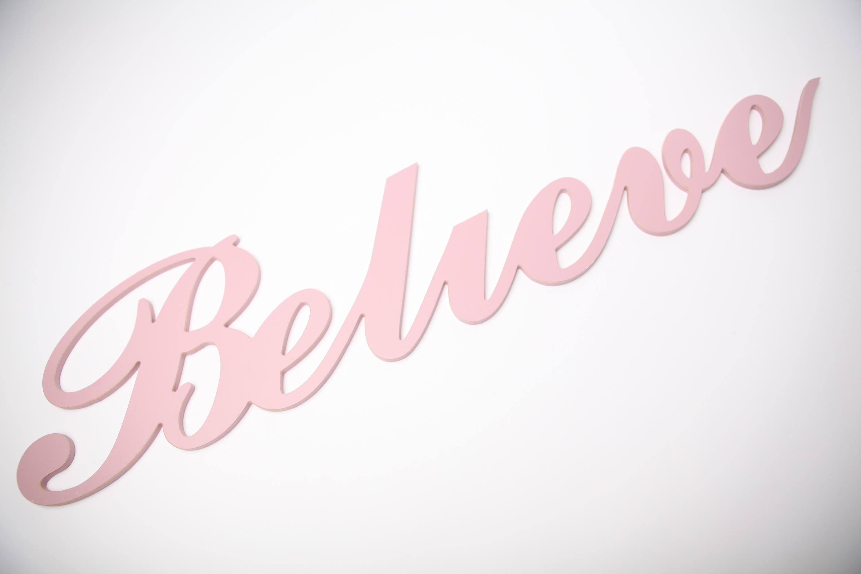 Wooden word - Believe (Script) | Bokke & Blomme