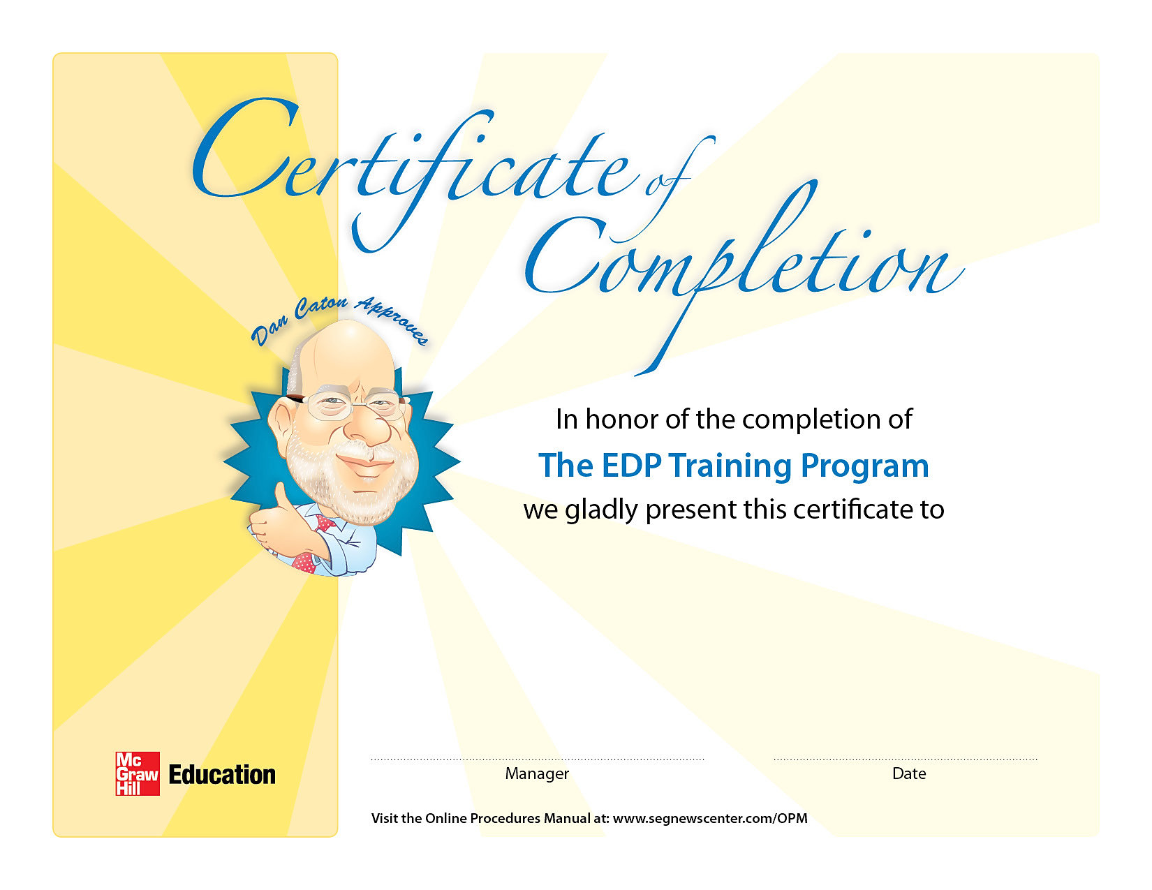 Whimsical design for corporate Certificate of Completion if internal ...