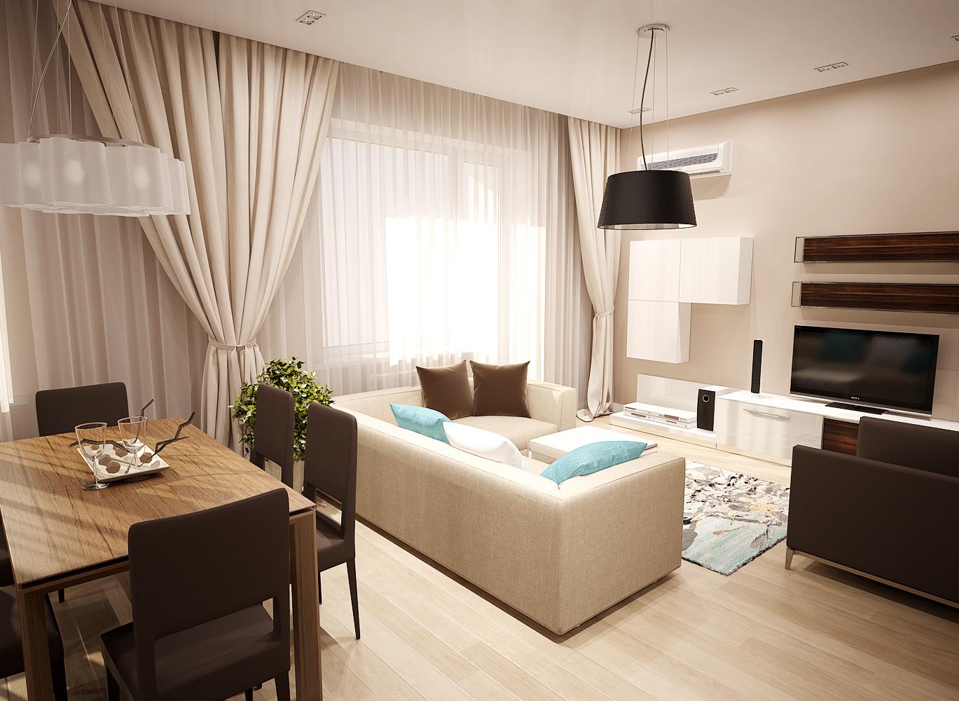 дизайн маленькой гостинной с двумя окнами
