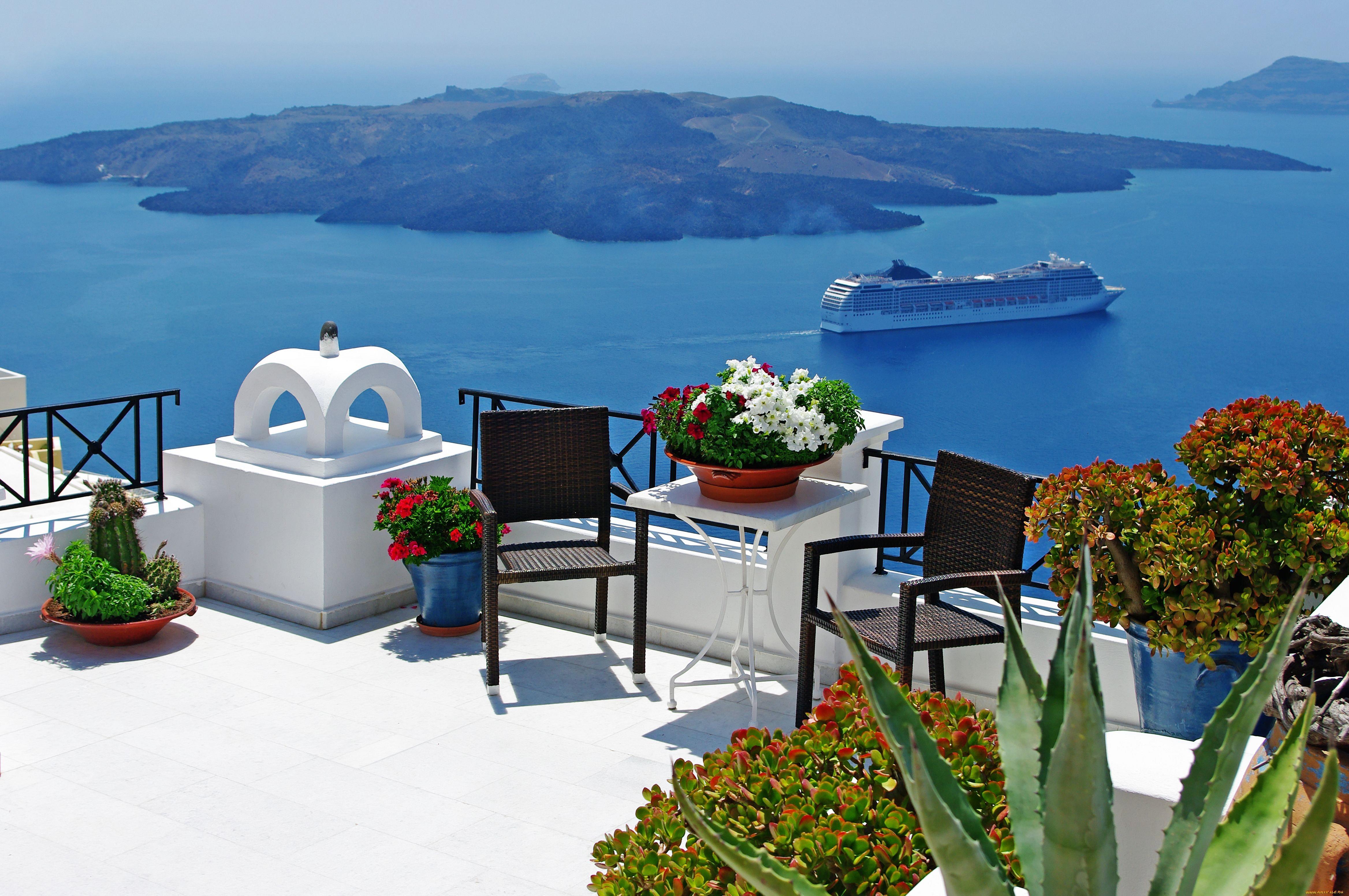 Обои голубой, море, вода, остров, природа, терраса, балкон, .