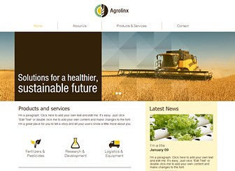 Agriculture Company Template - Grow your agricultural business with a sleek website that speaks to the modern age. Fully customizable, this template includes a sliding gallery, polished graphics, and an earthy color scheme. Start editing to sow the seeds for your success!
