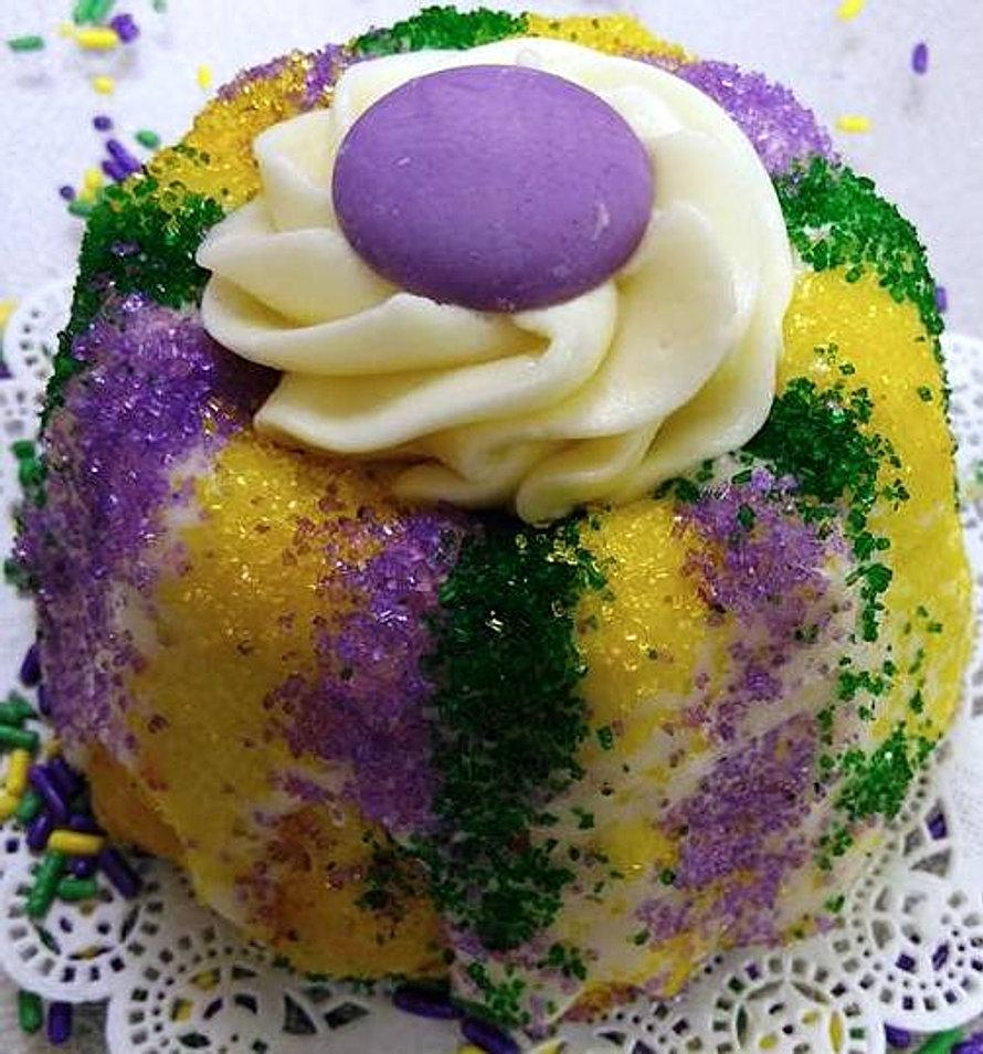 Vanilla King Cake Mini Bundts!