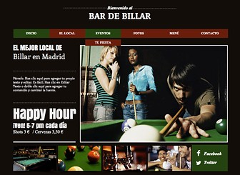 Bar de billar Template - Crea una presencia online para tu bar con esta atractiva plantilla web. Sube fotos y personaliza el texto para promover eventos, especialidades y menú. ¡Cambia el diseño y color para capturar la atmósfera de tu establecimiento!