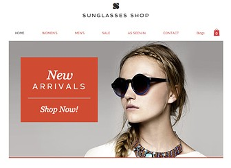Sunglasses Shop Template - A sleek and stylish platform to sell your luxury fashion accessories online. Customize the product galleries, highlight your press coverage, and promote sale items. Start editing to create an online store that's as chic as your designs.
