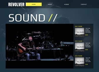 Band Site Template - Take your band to the next level with this bold website template.  Promote new releases, spread the word about gigs, and share videos and songs with your fans. Make changes to the design and layout to capture the energy of your group. Get your sound online now!