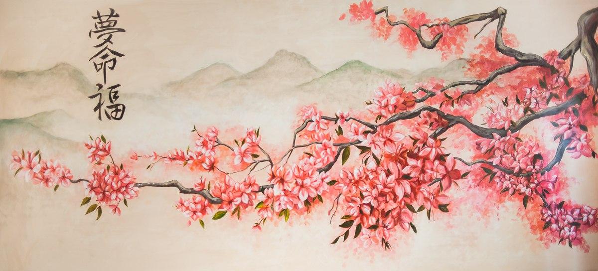 Картинки по запросу картина в японском стиле девушка и сакура