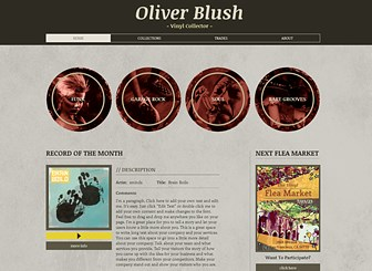 Record Collector Template - Grungy design and retro illustrations capture the essence of old school sound. Built with music lovers in mind, this template gives you the space to show off your collections and announce upcoming trades. Start editing to create a website in tune with your personal style.