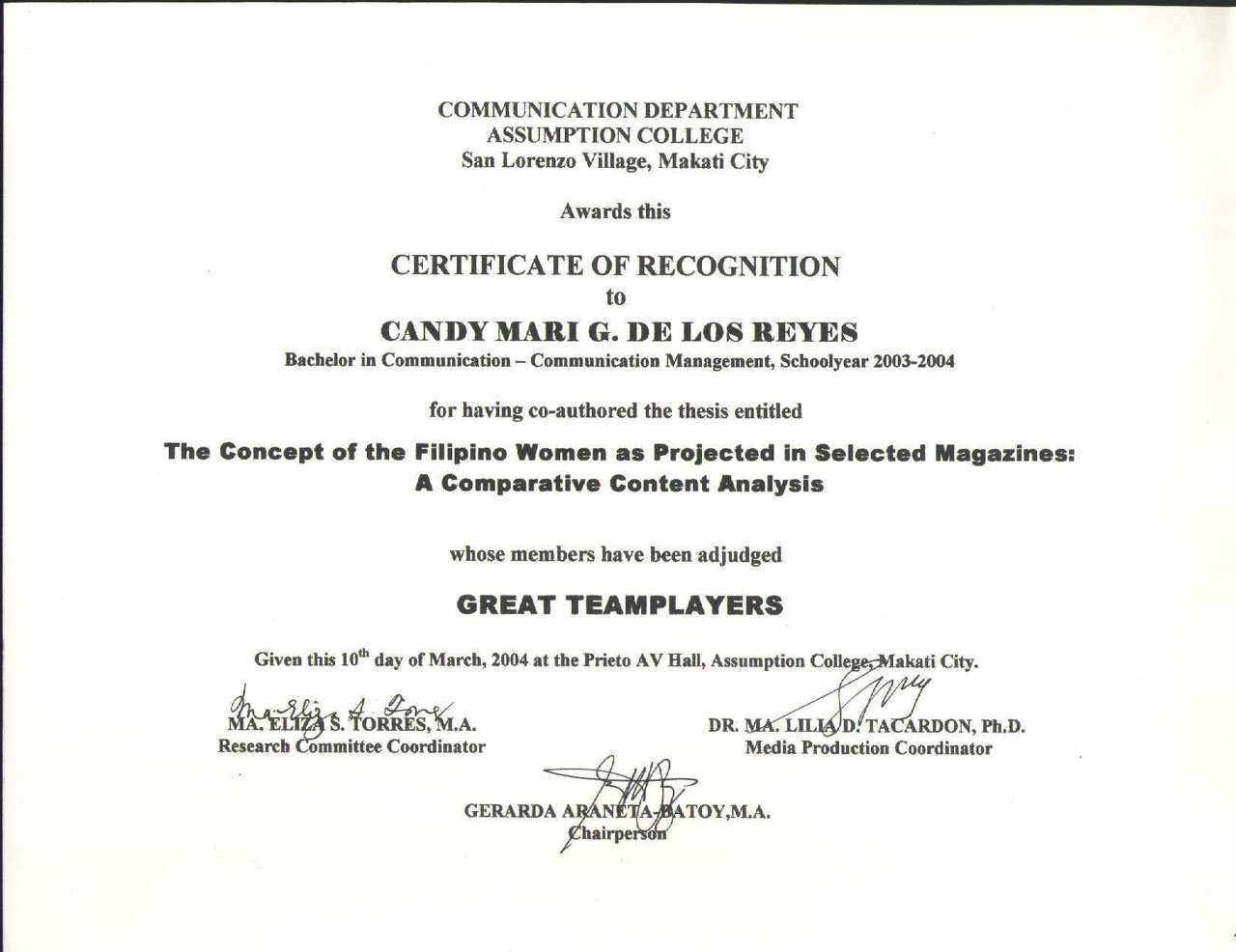 Best thesis certificate
