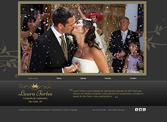 Fotografia para Casamento Template - Este template luxuoso com fontes elegantes e detalhes em dourado é perfeito para fotógrafos especializados em casamentos e noivados. Nas galerias de fotos apresente com todo o estilo seus projetos anteriores em sliders. Crie um site exclusivo e leve seu talento para a web.