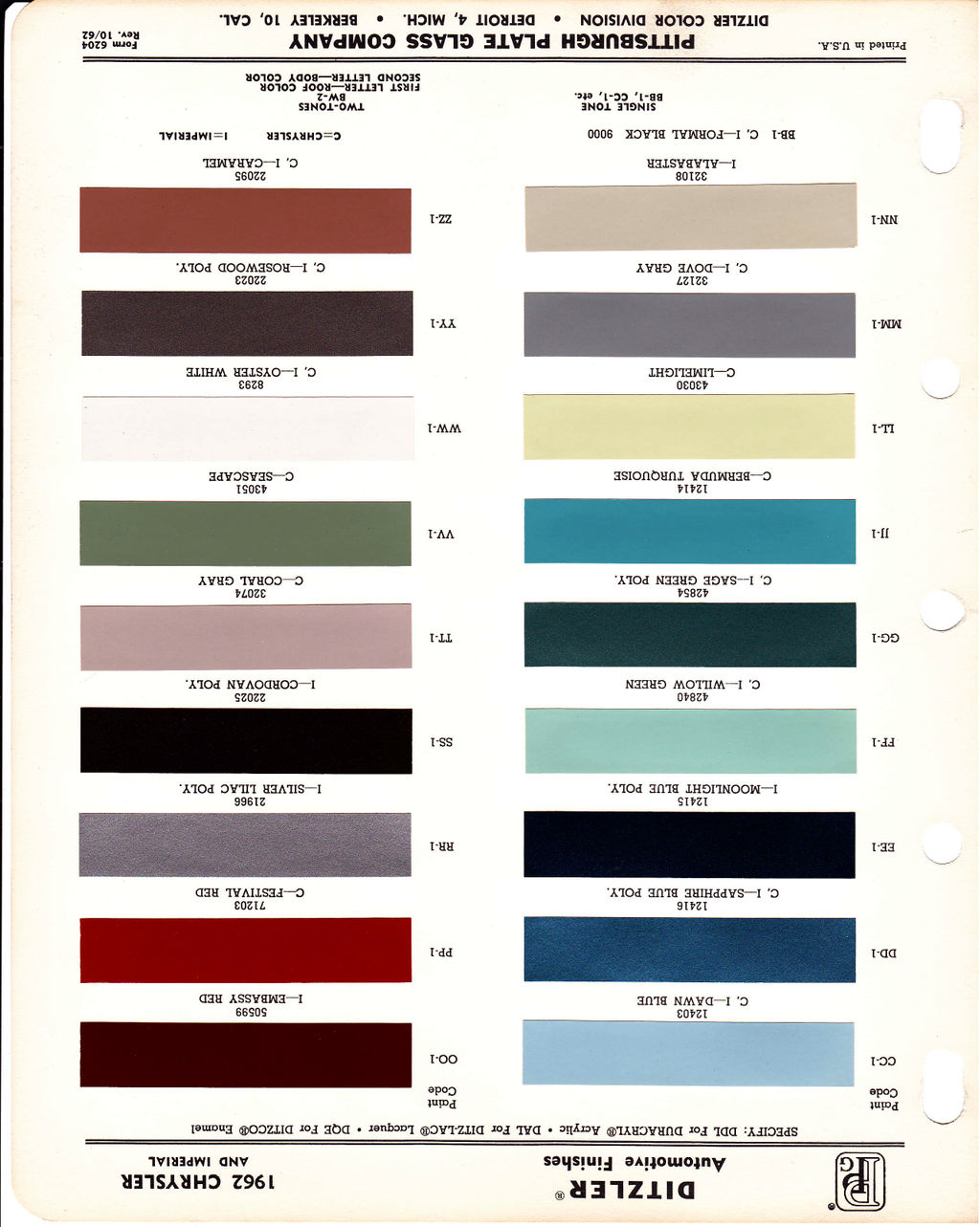 My 1962 imperial crown convertible restoration blog 1962 this particular color chart doesnt really show the colors well nvjuhfo Images
