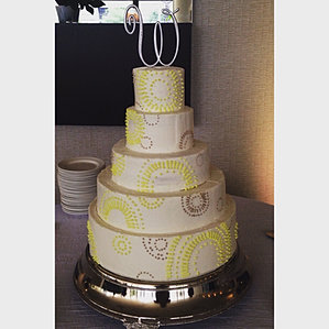 five tiered grey yellow wedding cake modern geo wedding cake cincinnati