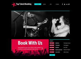 Music Booking Agency Template - Showcase the latest talent on your books with this energetic music agency template. Keep the black background and bright design elements or customize the color palette to reflect the tone of your music agency. Simply replace the photos with the bands and DJs your represent and enjoy your online success as your artists get booked up!