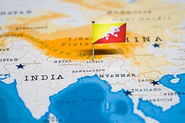 the Flag of bhutan in the world map.jpg