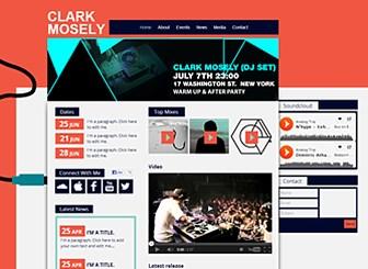 Club-DJ Template - Es ist Zeit mit Ihrem Sound online zu gehen! Das funky Layout bietet jede Menge Platz für Neuigkeiten, Fotos, Musik und Videos. Erstellen Sie jetzt eine individuelle Website für Ihre Songs!