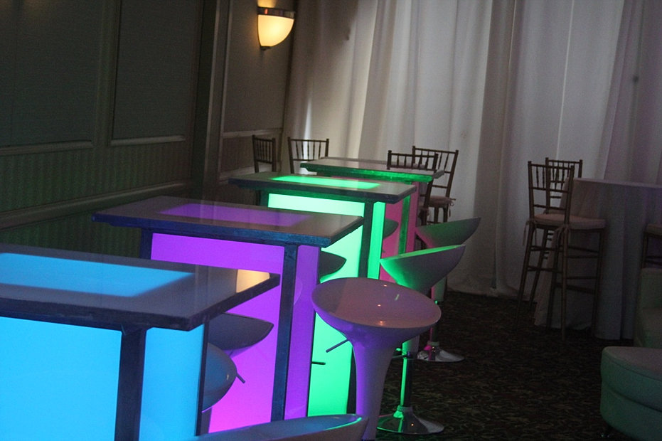 Lighted High Tops With Scoop Stools