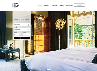 Hôtel Moderne Template - With a fullscreen slideshow gallery situated on the homepage, this is the perfect website template for any proud hoteliers to impress and entice their guests. Simply customize the galleries by adding striking images of your hotel and the services you offer and personalize the text to suit the style of hotel. Manage your reservations using the Wix booking App and watch as your hotel rooms get booked up!