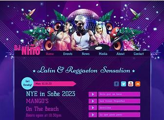 DJ Latino Template - Mettez vos rythmes en avant grâce aux couleurs intenses et au design audacieux de ce template gratuit. Annoncez vos événements à venir et téléchargez vos pistes et vos vidéos pour donner un aperçu de votre son aux visiteurs. Lancez votre site sur le Web et que la fête commence !