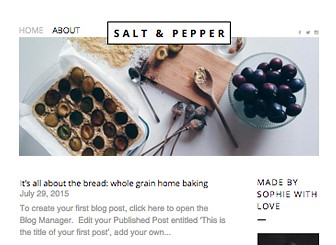 Food Blog Template - This tastefully simple food blog template is the perfect blogger style for chefs, food critics, food bloggers, cookbooks and lifestyle bloggers. With a clean, minimal look and easy-to-use blogging platform, it puts your images and content front and center.
