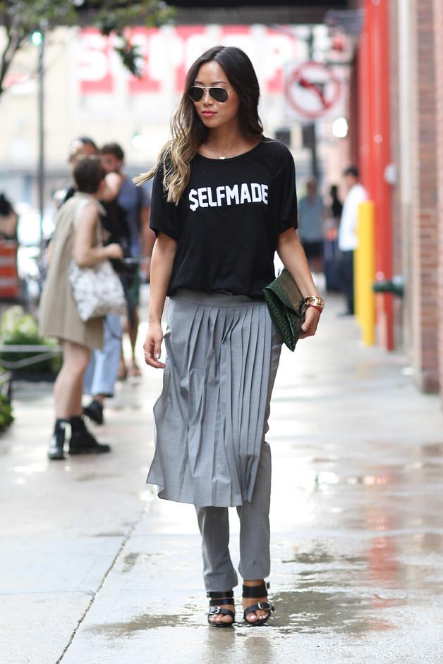 Сочетание юбки с брюками