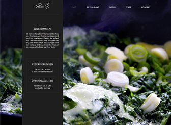 Restaurant Template - Mit dieser kostenlose Vorlage ziehen Sie garantiert die Aufmerksamkeit der Feinschmecker auf sich. Fügen Sie eine Speisekarte hinzu und laden Sie Fotos Ihrer köstlichen Gerichte hoch. Ändern Sie Farben und Design und erstellen Sie eine Website für Ihre Gourmet-Restaurant!