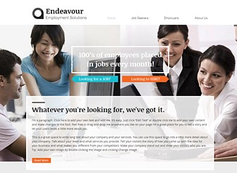Recruitment Firm Template - Create an online presence for your recruitment firm or agency or with this warm yet professional website template. With separate pages for job seekers and employers, you can easily attract potential clients and candidates alike. Simply edit the content and adjust the color palette to build a polished website that represents your business.