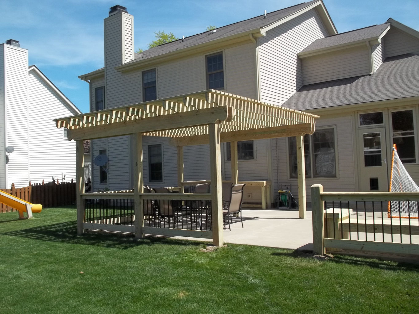 A Shade Pergola Over An Existing Concrete Patio In Carmel, IN.