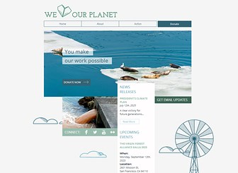 Environmental Action Group Template - Friendly illustrations and natural colors make this the perfect template for your charity or non-profit organization. Promote upcoming events, describe your mission and goals, and inspire site visitors to join the movement. Start editing to take your cause online!