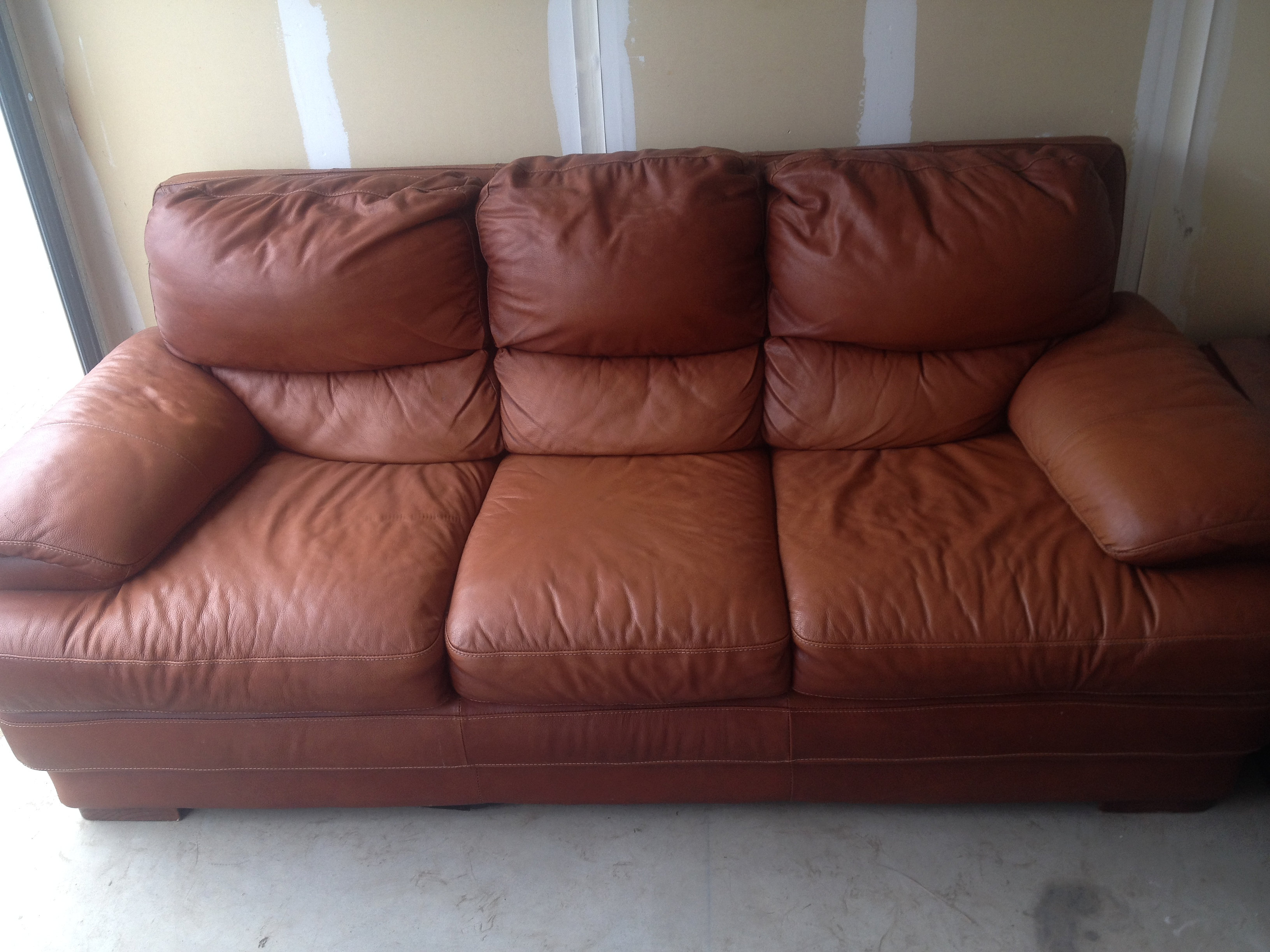 knittletradingco burnt orange leather sofa 50