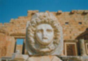 Exquisitely carved Medusa head in the Severan Forum at the ancient Roman city of Leptis Magna