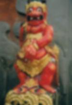 A fierce demon at the Ulun Dariau temple in Eastern Bali