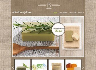 Beauty Care Template - The textured background and natural colors make this template the ideal match for your organic skincare or cosmetics company. Upload images of your products and customize the text to share your beauty philosophy.  Design a unique website to take your brand online!
