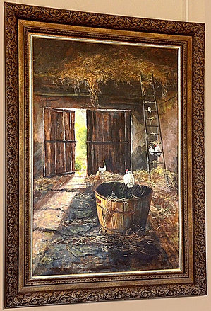 Interior of Barn with Chickens *Sold