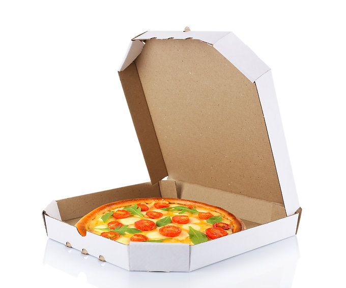 Delivery box with delicious pizza on whi