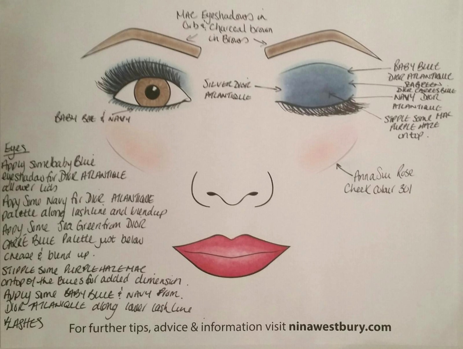 Blue eye shadow on brown eyes nina westbury i am not sure why i created this face chart i think i was discussing how amazing blue eye shadow looks on brown eyes with my twitter husband dave lackie geenschuldenfo Gallery