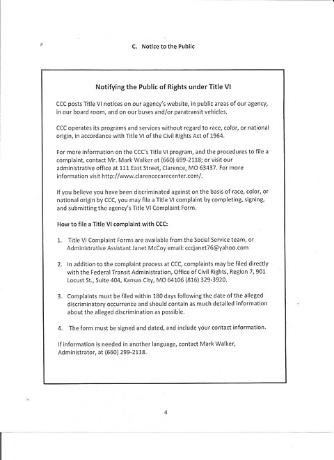 Clarence Care Center  Title Vi Program Complaint Form