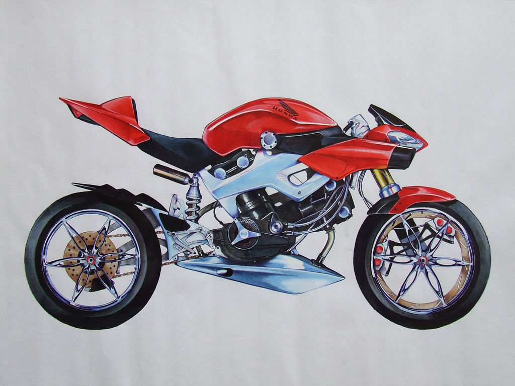 7 drawing Honda NAS mixed techniques colors marker pen crayons tempera - alexandru mora .JPG