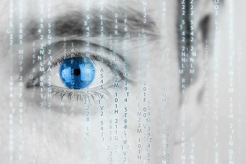 Futuristic image with human eye with blu