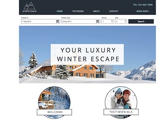 Ski Chalet Template - Give your guests a warm feeling, even when it's cold out. This elegant template is perfect for attracting guests to your luxurious winter escape. The clean fonts and color palette let your amenities speak for themselves. Use the booking app to upload photos, post rates and amenities, and give your guests a hassle free booking experience.