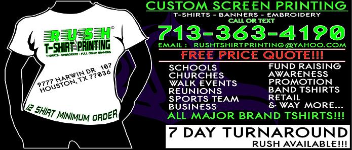 Rush tshirt printing screen printing embroidery full for Custom full color t shirt printing