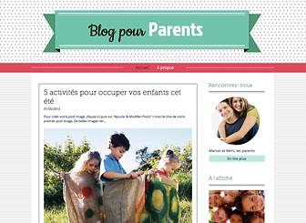 Blog Famille Template - Simple à personnaliser et à mettre à jour, ce template sur le thème de la famille est idéal pour les parents-blogueurs, souvent débordés. C'est l'endroit propice pour rencontrer d'autres parents et partager les joies et les difficultés liées à l'éducation des enfants. Créez un blog et faites-vous entendre !