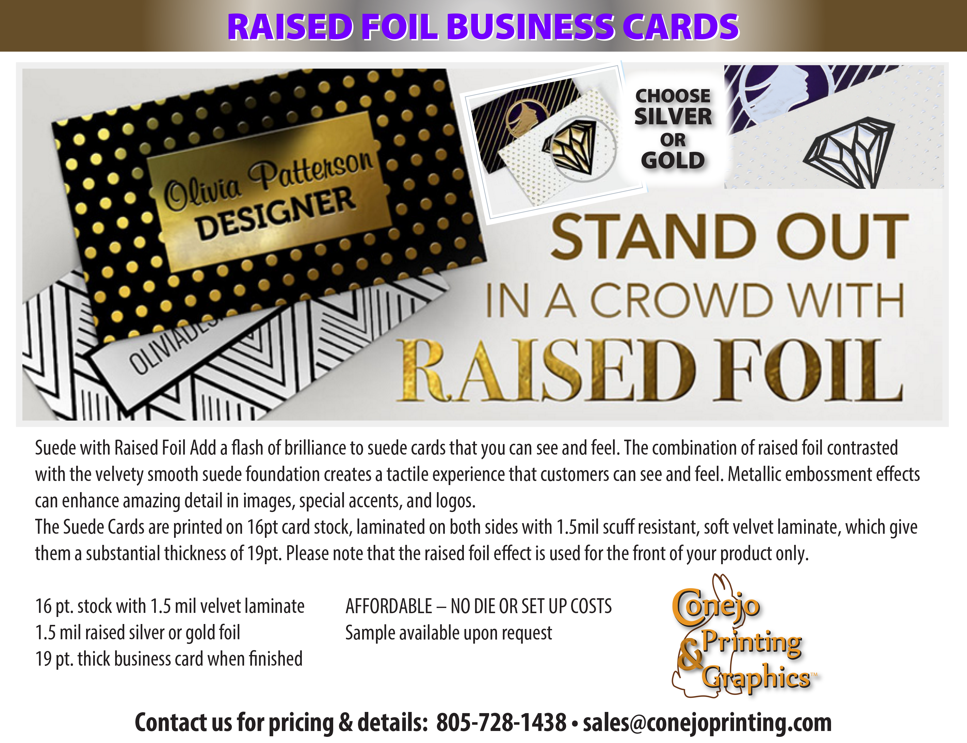 Raised Foil Business Cards   Conejo Printing and Graphics   Art ...