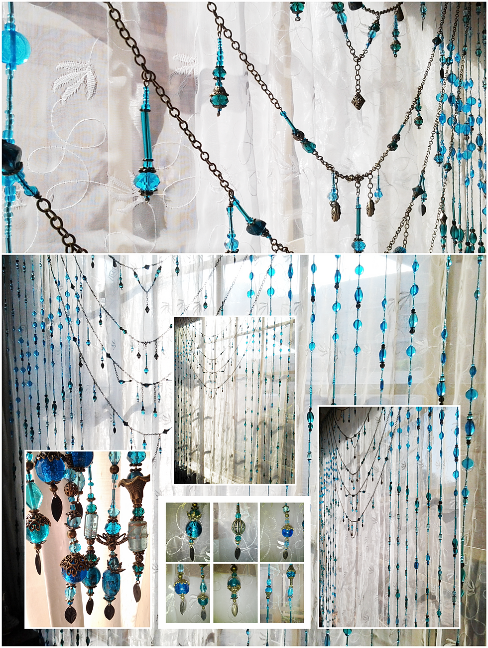 Boho window curtains - Boho Custom Beaded Curtain