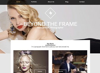 Studio de Photographie Template - Let your work speak for itself in this bold yet elegant website template. Perfect for photographers, this template allows you to showcase your images using the portfolio page and to update your followers through the stylish blog. Upload photos and add text and get your portfolio online today!