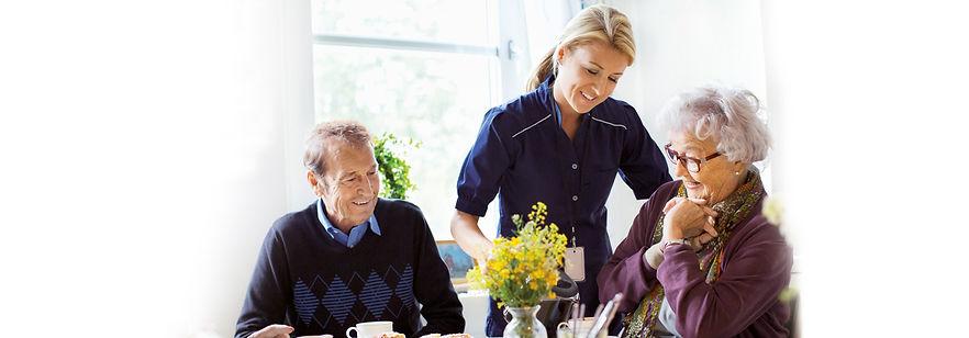 support worker helping the elderly