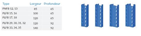 Les échelles se composent de deux montants et d'un certain nombre de diagonales. Les échelles son boulonneés, d'où un moinde coût de réparation si elles sont endommagées par des chariots élévateurs. Chaque vis est sécurisée par un écrou freinUne large gamme de types d'échelles permet une conception optimisée des rayonnages pour des hauteurs allant jusqu'à 30 m et des charges de travée jusqu'à 45 tonnes. Les montants sont profilés à froid de manière extrêmement précise. Ils peuvent être fabriqués dans des longueurs allant jusqu'à 15 M avec une finition peinte ou galvanisée.