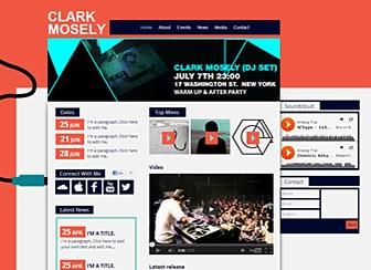 クラブDJ Template - 遊び心のあるデザインが特徴のミュージシャン向けテンプレートです。音楽配信、動画、ツアー日程、ソーシャルメディア、リリース情報、お問い合わせフォームなど、トップページだけでも多数のコンテンツが詰め込まれています。6ページ構成のテンプレートですので、プロフィールやディスコグラフィーなどスペースが必要なコンテンツにもばっちり対応できます。