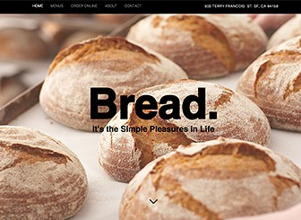 Bread Shop Template - A fresh and modern website template reminiscent of the traditional bakery. With impressive parallax strips and an attractive strip video, this is a great template to boost your delicious products. Allow your customers to make orders before they arrive, using the easy-to-edit ordering system. Start editing to get your bakery online today!
