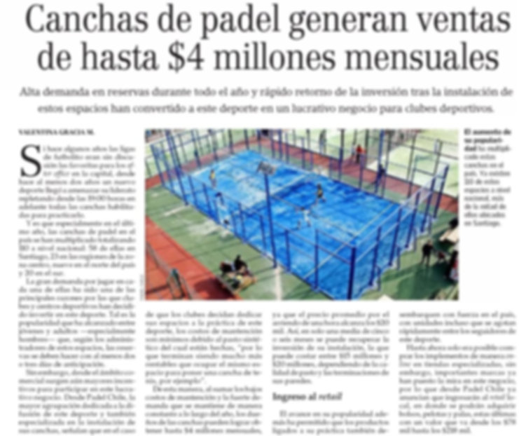 Padel Chile en el Mercurio