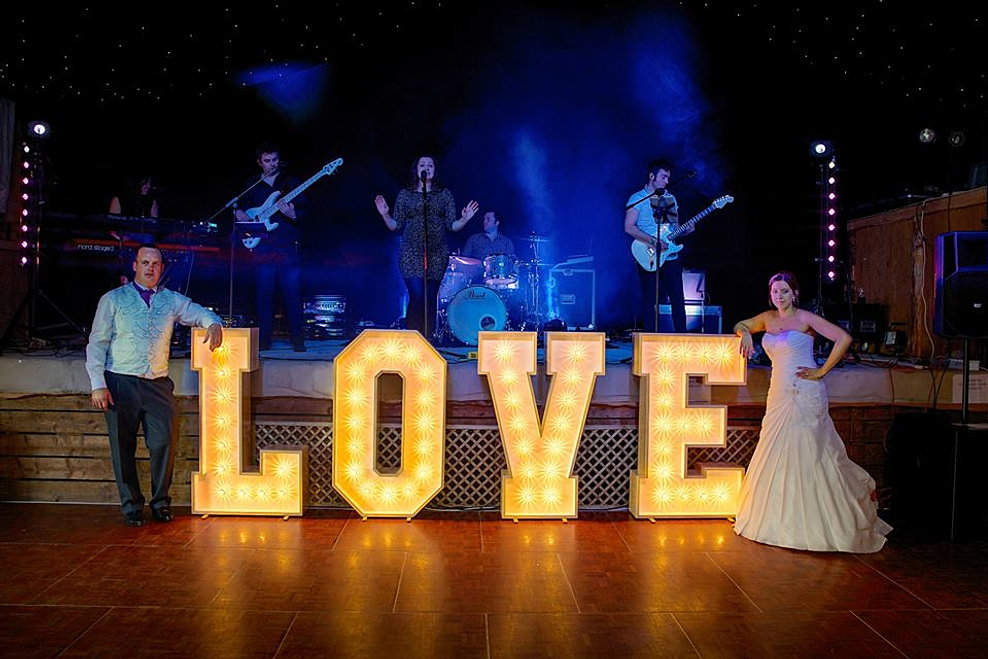 giant letter lights hire wedding
